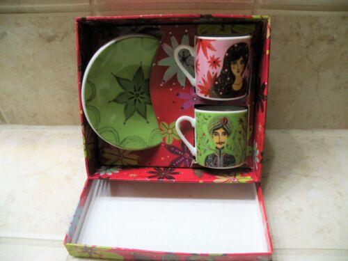 NEW COFFEE CUP SET Fragonard Visages Porcelain Tea/Coffee Cup/Saucer Set Box 5