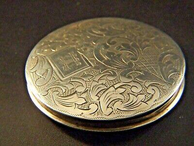 Antique Israel Sterling Silver LG 833 Jerusalem Powder Case Engraved 1900's Gift