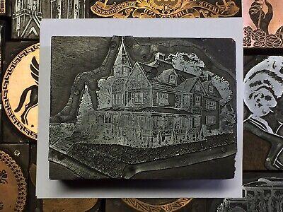 Antique Vtg Wood Metal Victorian House Letterpress Print Type Cut Ornament Block