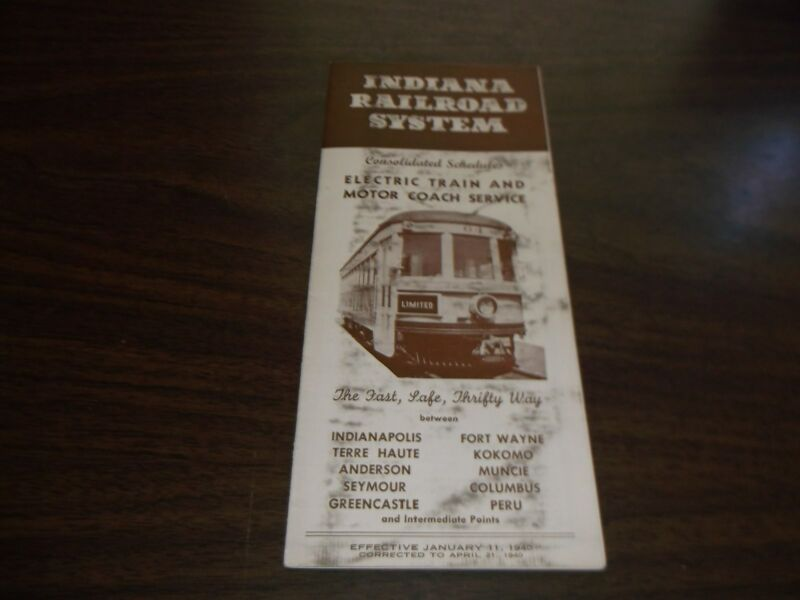 APRIL 1940 INDIANA RAILROAD SYSTEM PUBLIC TIMETABLE