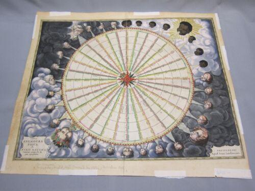 Tabvla Anemogra Phica leu Pyxis Navtica~Circa 1650~2 Page Hand Colored Winds Map