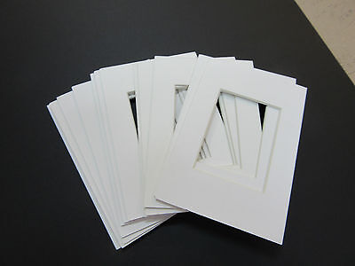 Picture Frame Mats WHITE with BLACK CORE Set of 10 mats 5x7