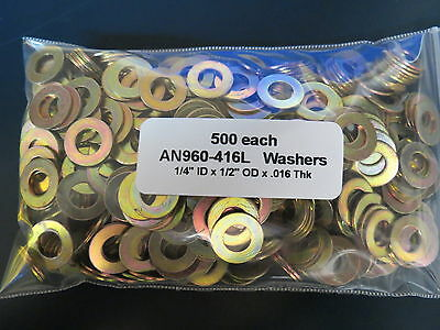 "AN960-416L Washers for 1/4"" AN4- Bolts (Lot of 500 each)"