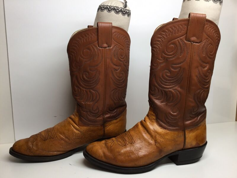 MENS, OLATHE, COWBOY, SMOOTH, OSTRICH, SKIN, BROWN, BOOTS, SIZE, 12, D