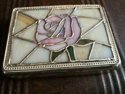 Vintage Metal And Glass Jewellery Box
