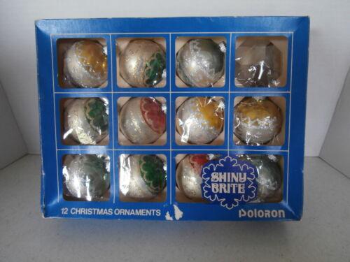 """Vtg. Set of 11 Shiny Brite 2 1/4"""" Glittered Glass Ball Ornaments in Original Box"""