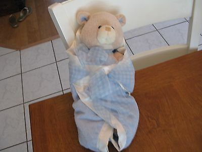 58610 bear tales blue swaddled lovey security plush set tan 14
