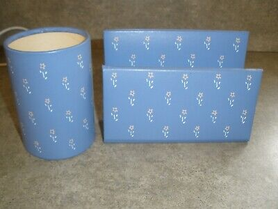 Vintage Gibson Blue Floral Pencil Paper Holder For You Desk Office Supplies