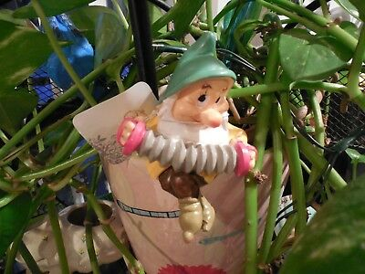 DISNEY POT SITTER BASHFUL DWARF PLAYING ACCORDION FROM SNOW WHITE NWT 3.5""