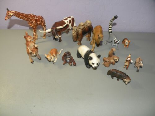 Schleich lot of 14 Animals Bull Red Panda Kangaroo Lemur Camel Sloth Goat D++