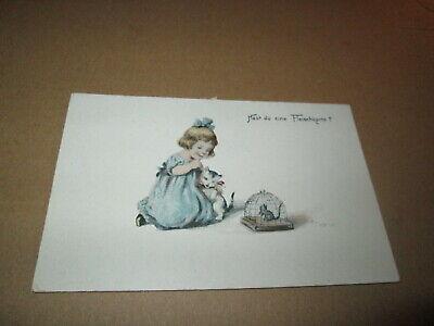 Mädchen mit Katze und Maus - Hast Du eine Fleischkarte? Postkarte um 1910 ()