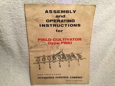 1960s Assembly Operating Manual For Field Cultivator Pbe Pittsburgh Forging