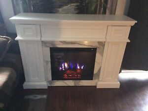 Electric white fireplace