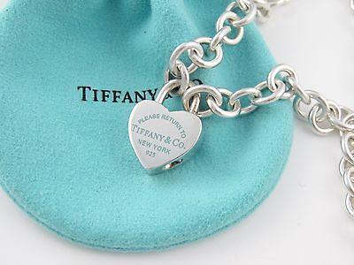 Tiffany & Co Zurück zu Tiffany Silber Blau Emaille Herz Halskette !!
