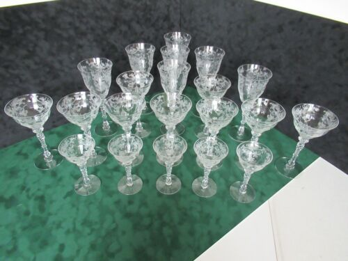 Exquisite antique etched crystal set of stemware (21 stems)