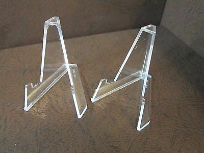 Lot Of 2  Small Plus  Clear Acrylic Display Stand Easels