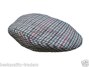 NEW MENS TWEED HERRINGBONE FLAT CAP IN THREE COLOURS