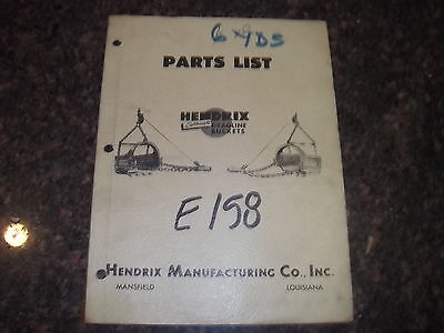 Hendrix Dragline Buckets 6yd 6 12 Yard Parts Manual Book Catalog
