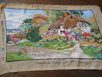 VINTAGE TAPESTRY COMPLETED THATCHED COUNTRY COTTAGE STRACHAN KINETIC OLD KT67