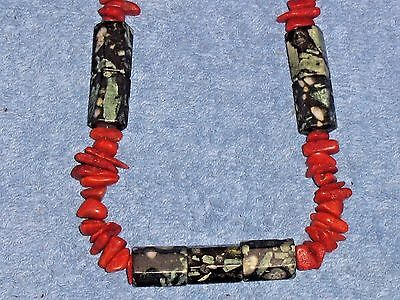 Vintage Red Coral Necklace Antique Jewelry Southwestern Dark Red Coral