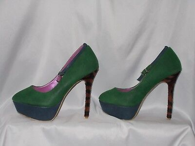 WOMEN'S SHOES SIZE 8.5 SHOE REPUBLIC LA GREEN BLUE TIGER HEELS Party Christmas   - Green Party Shoes