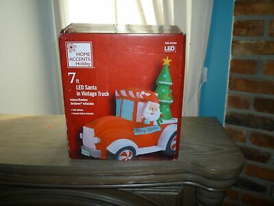 7 FT LED SANTA IN VINTAGE TRUCK AIRBLOWN INFLATABLE