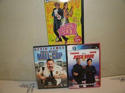 (3) COMEDY DVD LOT. AUSTIN POWERS, PAUL BLART MALL COP, RUSH HOUR 2. MYERS, (Circle Mall Hours)