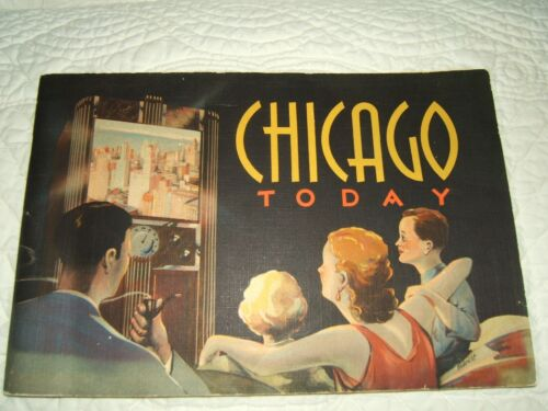 1937 CHICAGO COLLECTIBLE TRAVEL SOUVENIR BOOKLET--68 PAGES OF PHOTOS & HISTORY