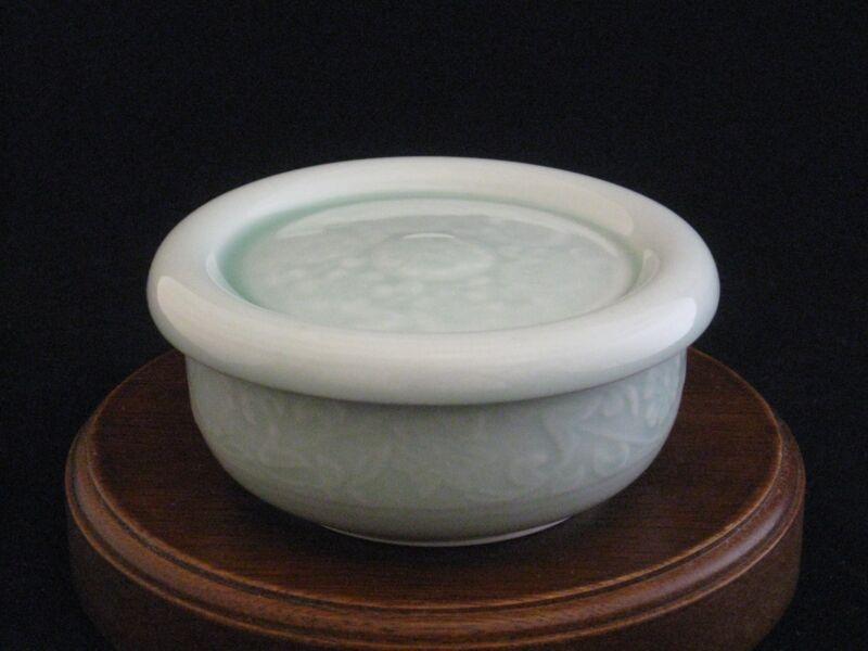 Celadon Fine Porcelain Lidded Trinket Box Candy Dish Stamped Made in Korea