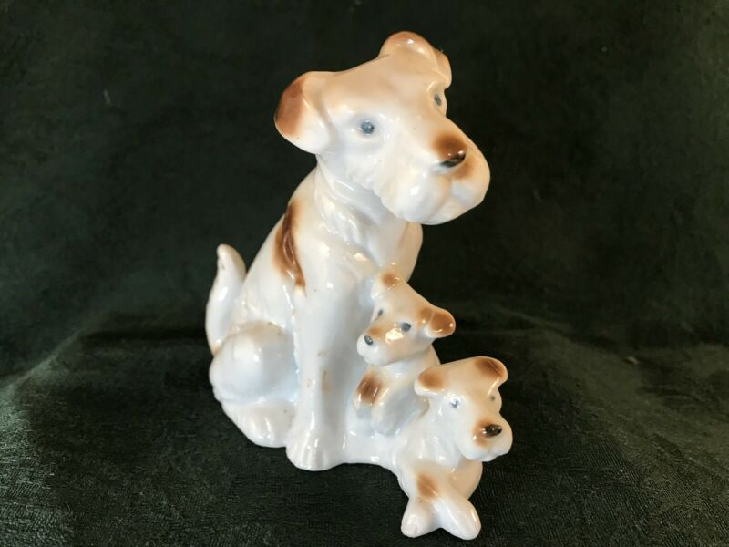 Dog Puppies Figurine Ceramic Vintage  - Japan