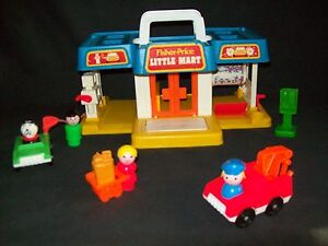 Vintage Fisher Price Little People mini mart COMPLETE shopping cart grocery bag