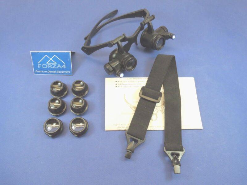Dental Medical Vet Jeweler Glasses Magnifier LED Double Eye 10X 15X 20X 25X