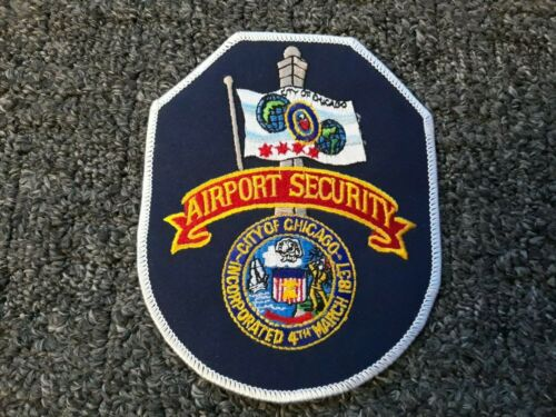 City of Chicago Airport Security Patch Airplanes Clouds Boat Indian Sky Flag