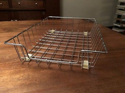 Vintage Retro Industrial Wire Metal Desk Paper Tray Organizer Basket Inbox