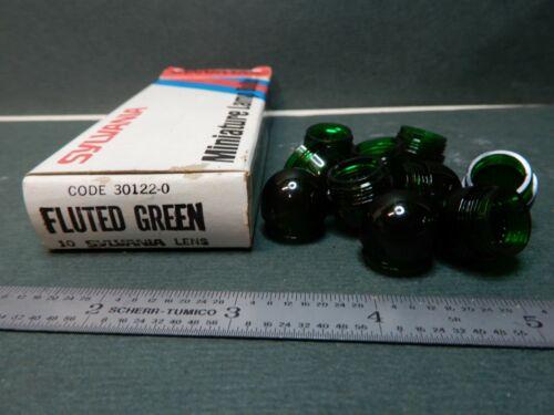Sylvania Panel Mount Pilot Lamp Fluted Green Lenses 30122-0 Qty 10 NOS