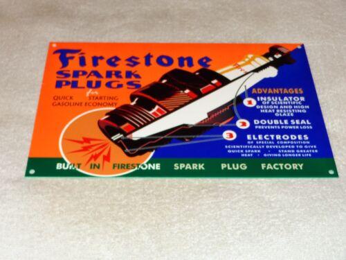 "VINTAGE FIRESTONE SPARK PLUGS 12"" METAL GASOLINE & OIL FACTORY SIGN! PUMP PLATE!"