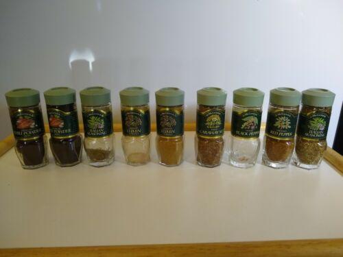 9 Vintage McCormick Glass Spice Jars Green Top Lids Retro Kitchen