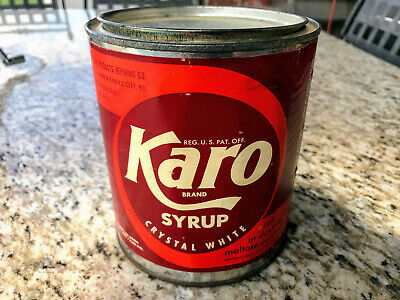 Vintage Karo Crystal White Syrup Tin Can With Lid Five Pounds