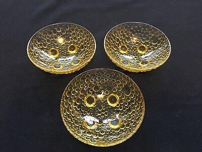 Set of 3 Fruit/Dessert/Candy Dishes ~ 4 Toe Amber Crystal Hobnails / Teardrops