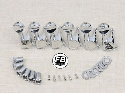 String Tuning Pegs Gear Electric Guitar Tuners 6 In Line Machine Heads (Chrome Guitar Tuners)
