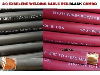 100 20 Excelene Welding Cable 50 Ft Red 50 Ft Black Usa Made 105 Epdm Jacket