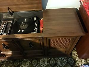 Vintage Philips record player / 8 Track  Console