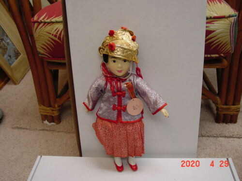 """Vintage 12 """"Antique Chinese Doll - Young Bride HEADRESS. Made in Hong Kong #124"""