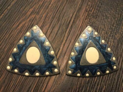 Stunning Vintage Estate Metal Blue Swirl Enamel Earrings Triangle Shaped Retro