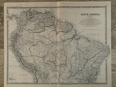 1881 SOUTH AMERICA (NORTH) LARGE HAND COLOURED ORIGINAL ANTIQUE MAP BY JOHNSTON
