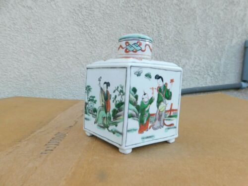 Antique Chinese Figures Quadrangle Porcelain Tea Caddy 5-1/2""