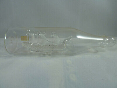 Vintage Frosted & Clear Glass Ship in a Bottle ~ Made in Britain ~ 19cm ~ VGC