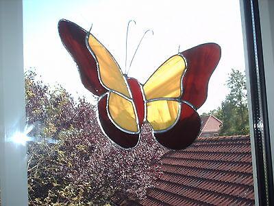 """TIFF. - Fensterbild, Schmetterling , braun, gelb, """"Handarbeit"""""""