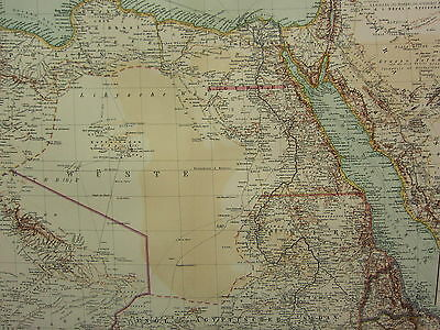 1907 DATED MAP ~ NORTH EAST AFRICA ~ EGYPT NILE DELTA CAIRO NUBIEN TRIPOLIS