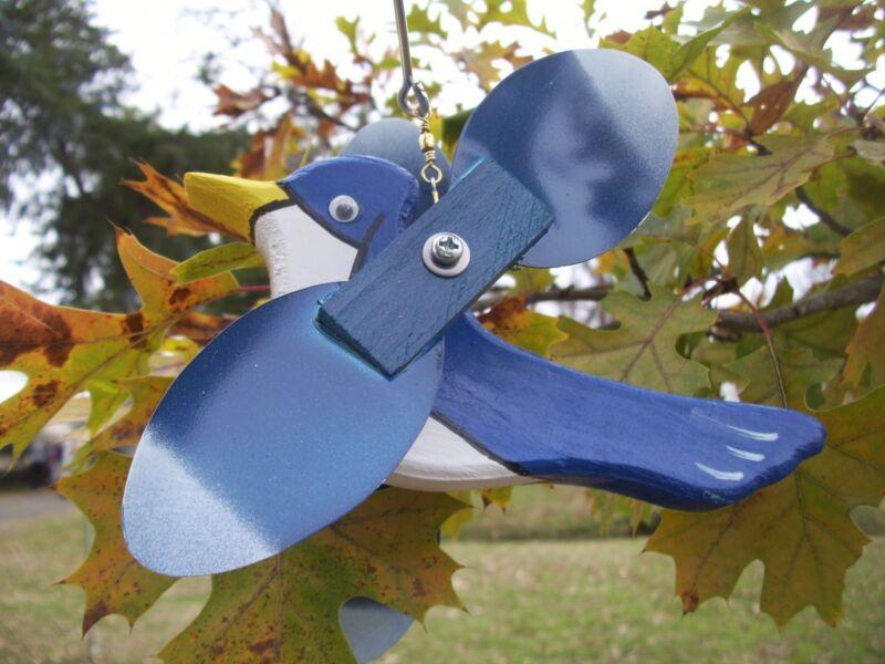 Blue Jay Mini Whirligigs Whirligig Windmill Yard Art Hand made from wood